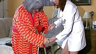 Plus-size obese Nurse wank with old Grandmother